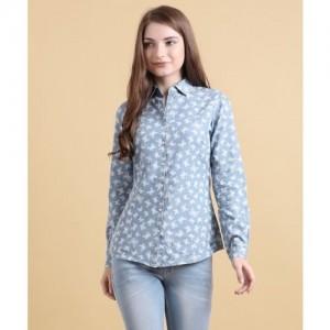 Park Avenue Women's Printed Casual Blue Shirt
