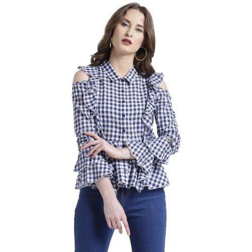 Texco Women Checkered Casual Blue, White Shirt