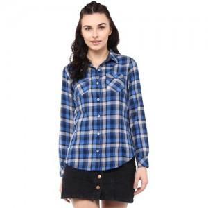 b03cf5a5 Buy Annabelle Women's Checkered Formal Blue Shirt online   Looksgud.in