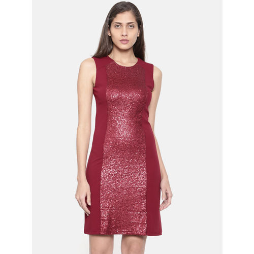 Deal Jeans Women Maroon Solid Sheath Dress