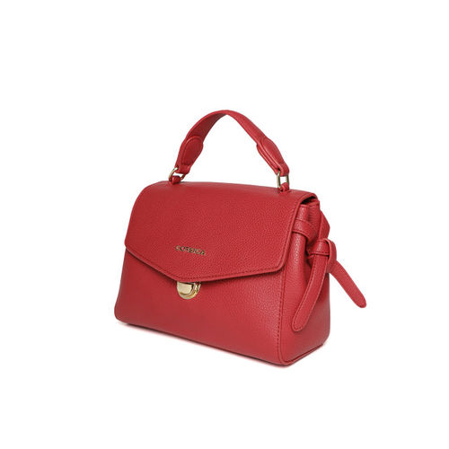 CORSICA Red Solid Satchel with Sling Strap