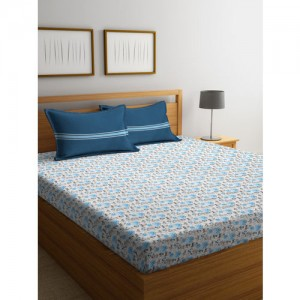 Trident White & Blue Printed 132 TC Cotton 1 Double Bedsheet with 2 Pillow Covers