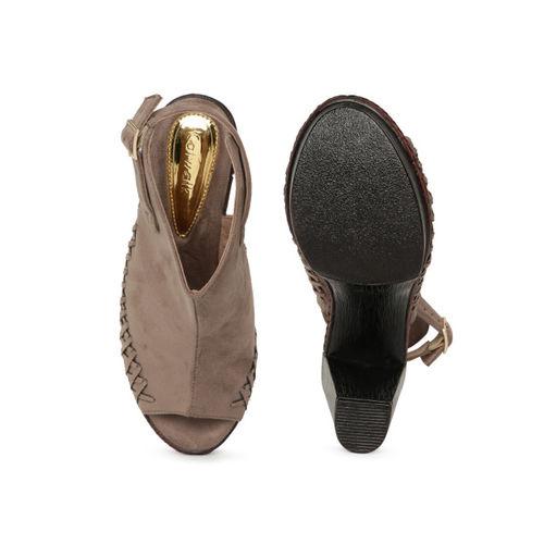 Catwalk Women Khaki Solid Peep-toe Heels
