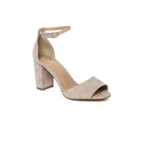 Catwalk Women Taupe Solid Heeled Sandals