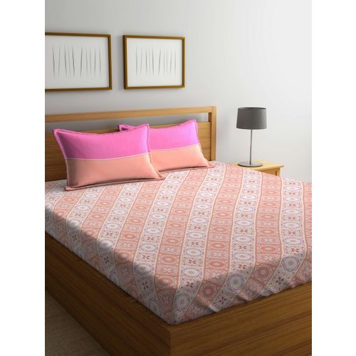 Trident Red & Peach-Coloured Ethnic Motifs Flat 120 TC Cotton 1 Queen Bedsheet with 2 Pillow Covers