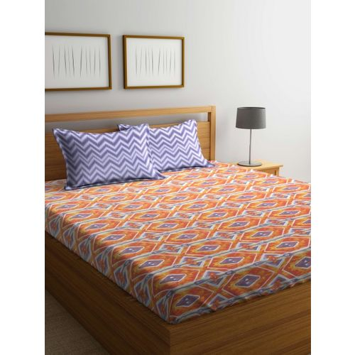 Trident Red Geometric Flat 120 TC Cotton 1 Queen Bedsheet with 2 Pillow Covers
