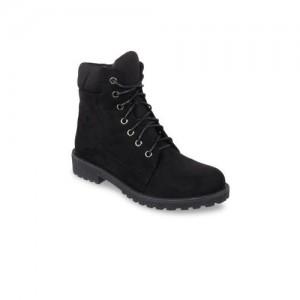 Flat n Heels Women Black Solid Mid-Top Flat Boots