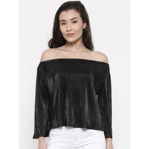 0fb2fbb8de15b Buy Deal Jeans Women Black Self-Design Bardot Top online