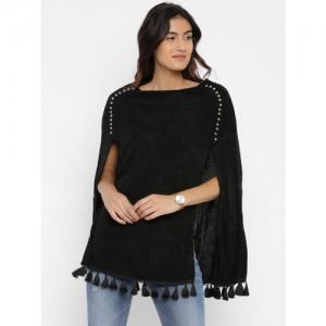 Deal Jeans Women Black Solid Cape Top