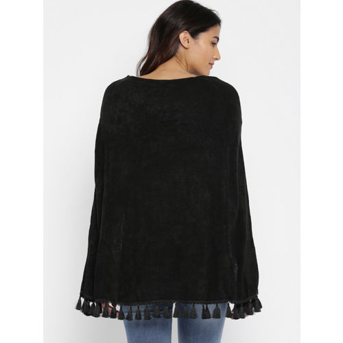 Deal Jeans Women Black Solid Cape Top