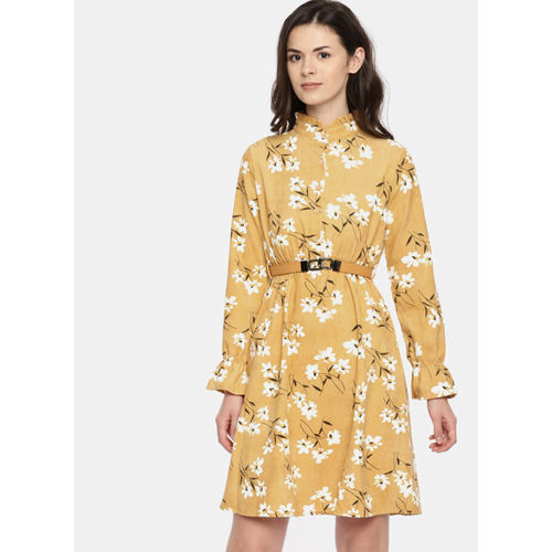 Deal Jeans Yellow Printed Fit And Flare Dress