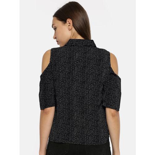 Deal Jeans Women Black & Grey Striped Shirt Style Top