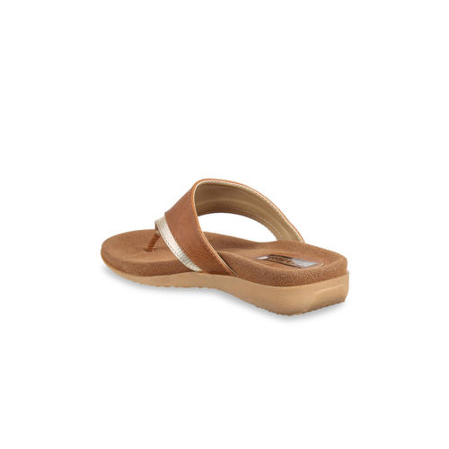 Flat n Heels Women Tan Solid Synthetic Open Toe Flats