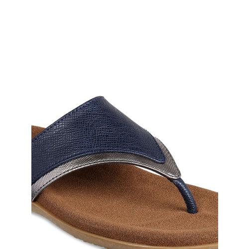 Flat n Heels Women Blue Solid Synthetic T-Strap Flats