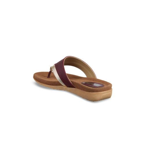 Flat n Heels Women Maroon Solid Synthetic T-Strap Flats