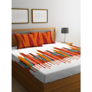 Portico New York White & Orange Graphic Flat 144 TC 1 Double Bedsheet 2 Pillow Covers