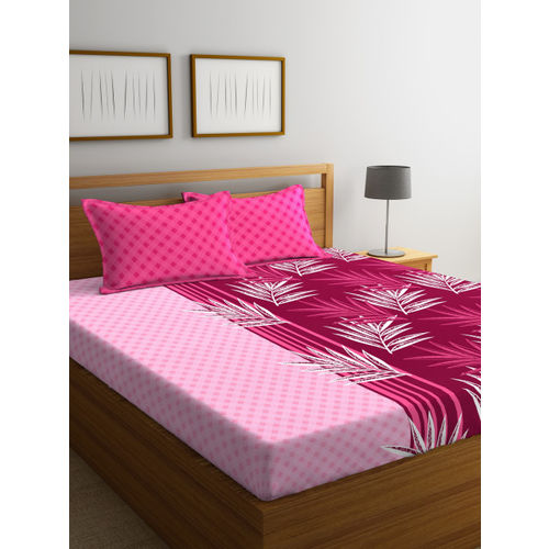 Portico New York Pink & Maroon Abstract Flat 144 TC Cotton 1 Queen Bedsheet with 2 Pillow Covers