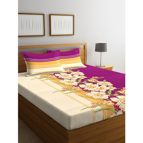 Portico New York Purple & Beige Floral Flat 144 TC Cotton 1 Queen Bedsheet with 2 Pillow Covers