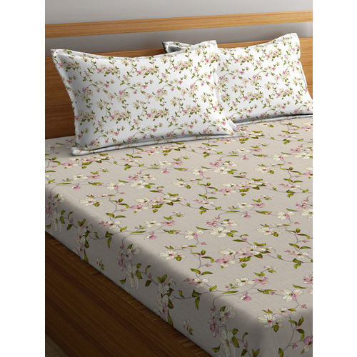 Portico New York Grey Floral Flat 144 TC Cotton 1 Double Bedsheet with 2 Pillow Covers