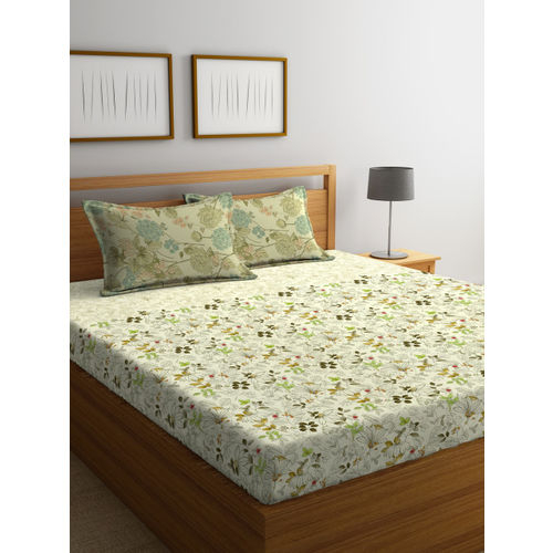 Portico New York Off-White Floral Flat 144 TC Cotton 1 Double Bedsheet 2 Pillow Covers