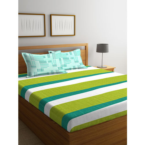 Portico New York Green & White Abstract Flat 144 TC Cotton 1 Queen Bedsheet with 2 Pillow Covers