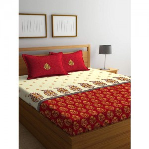 Portico New York Red & Off-White Ethnic Motifs Flat 144 TC Cotton 1 King Bedsheet with 2 Pillow Covers