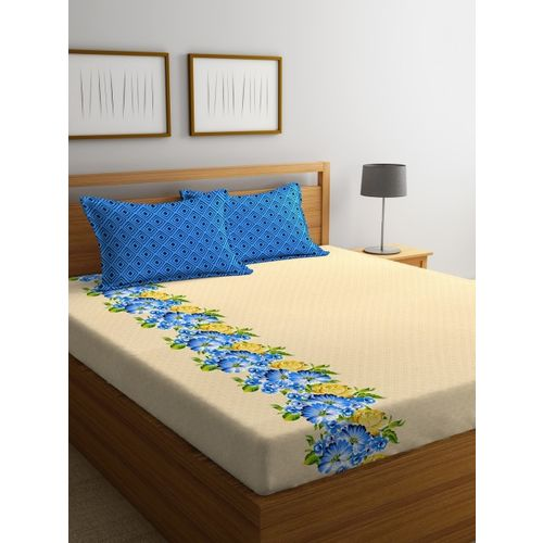 Portico New York Beige Floral Flat 144 TC Cotton 1 Queen Bedsheet with 2 Pillow Covers