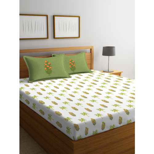 Portico New York White & Green Geometric Flat 144 TC Cotton