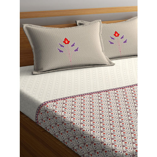 Portico New York Grey Floral Flat 144 TC Cotton 1 Queen Bedsheet with 2 Pillow Covers