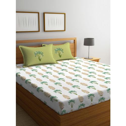 Portico New York Green & Beige Geometric Flat 144 TC Cotton