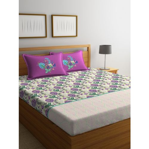 Portico New York White & Purple Flat 144 TC Cotton 1 King Bedsheet with 2 Pillow Covers