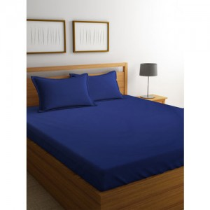 Portico New York Navy Blue Solid Flat 220 TC Cotton 1 King Bedsheet with 2 Pillow Covers