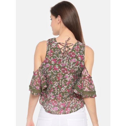 Deal Jeans Women Green Floral Printed Cold-shoulder Crop Top