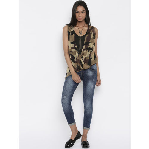 Deal Jeans Brown & Black Camouflage Print Wrap Top