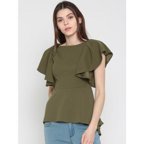 d304029d4794 Buy Deal Jeans Women Olive Green Solid Peplum Top online | Looksgud.in