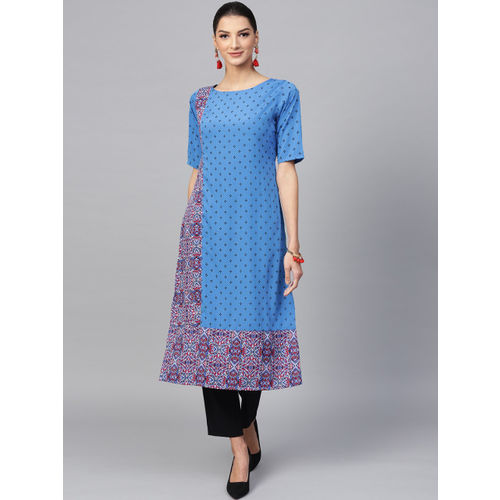 Ives Women Blue & Maroon Printed Straight Kurta