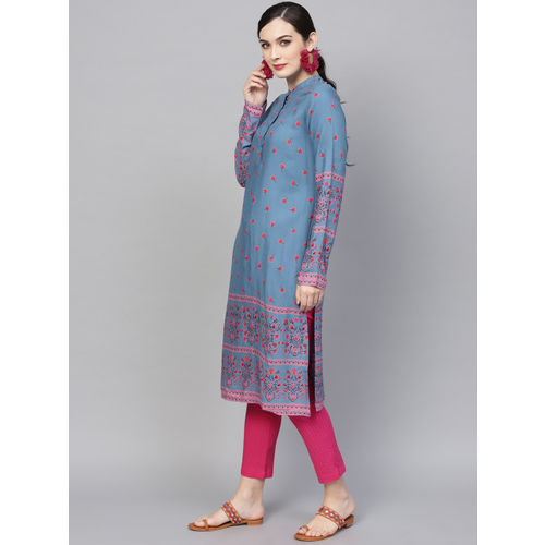 Aks Blue cotton Printed Straight Kurta