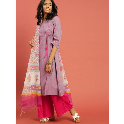 Taavi Women Blue & Pink Woven Legacy Angrakha Kurta Set with Dupatta