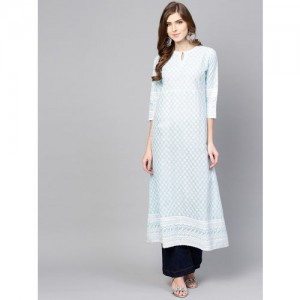 Libas Women Blue & White Embroidered A-Line Kurta