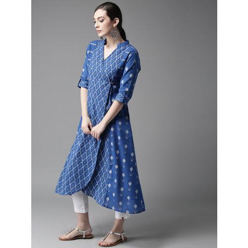 Moda Rapido Blue & White Printed Angrakha A-Line Kurta
