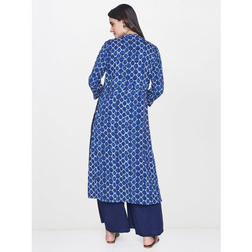 Global Desi Women Blue Printed Straight Kurta