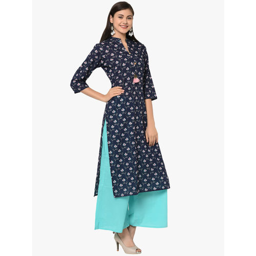 ZIYAA Women Blue Printed Kurti with Palazzos