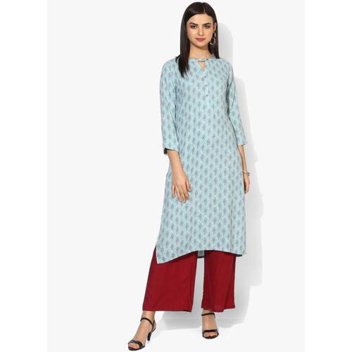 Global Desi Blue&White Printed Straight Kurta