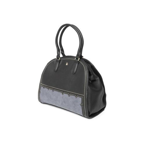 United Colors of Benetton Black & Charcoal Grey Colourblocked Handheld Bag