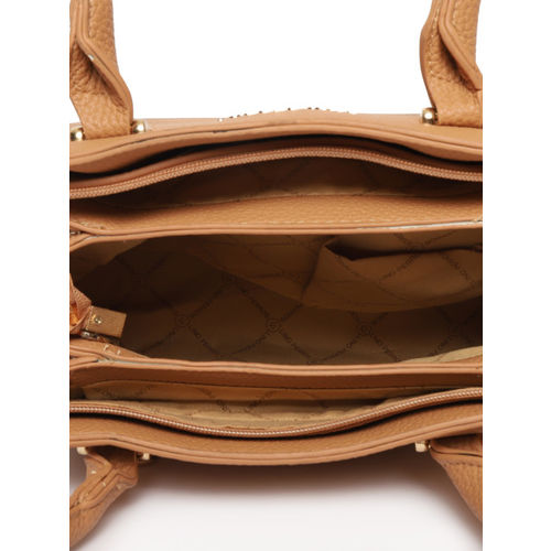 Lino Perros Brown Solid Handheld Bag with Detachable Sling Strap