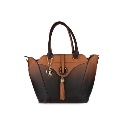 Butterflies Brown Solid Handheld Bag