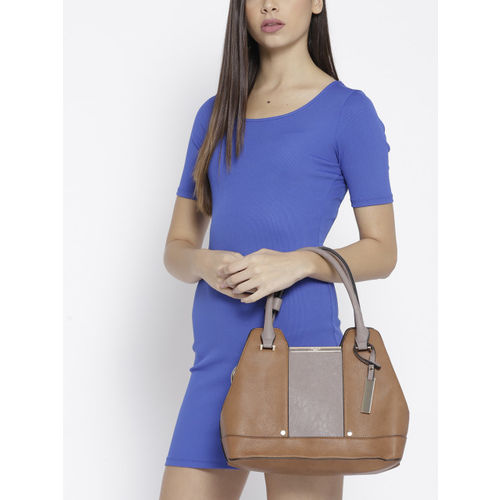 Dune London Brown & Taupe Colourblocked Handheld Bag With Detachable Sling Strap