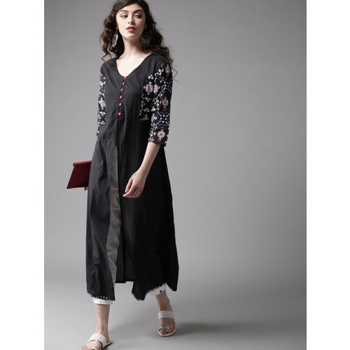 Moda Rapido Black High-Slit Solid A-Line Kurta