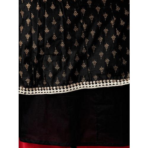 Alena Women Black Foil Printed A-Line Kurta