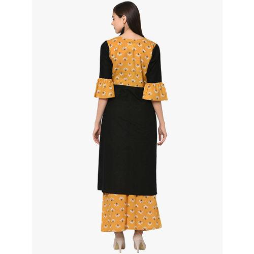 ZIYAA Women Black & Mustard Yellow Printed Kurta with Palazzos